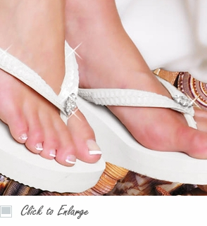 High Wedge Bridal Flip Flop with Sequins and Crystals - White or Ivory