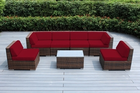 SPECIAL:  Beautiful Ohana Outdoor Patio Mixed Brown  Wicker Furniture Sectional 7 pc Couch set . Additional $200 off: Now at $1399 ( M200)