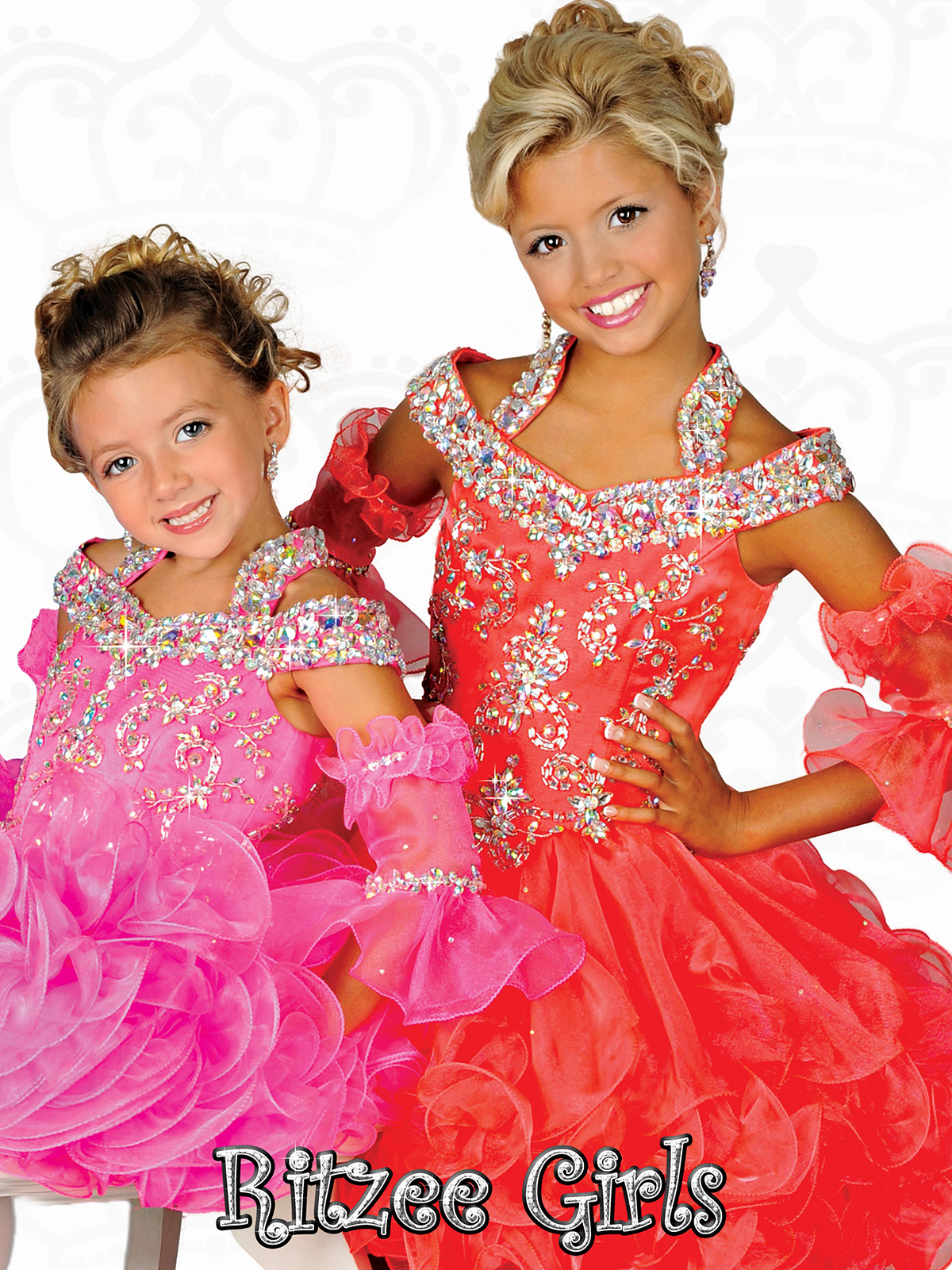Halter Straps Ruffled Skirt Ritzee Girls Cupcake Pageant Gown B526 ...
