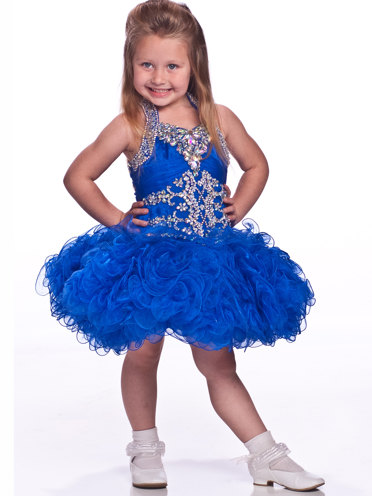 Halter Ruffled Skirt Girls Short Pageant Dress By Unique Fashion ...