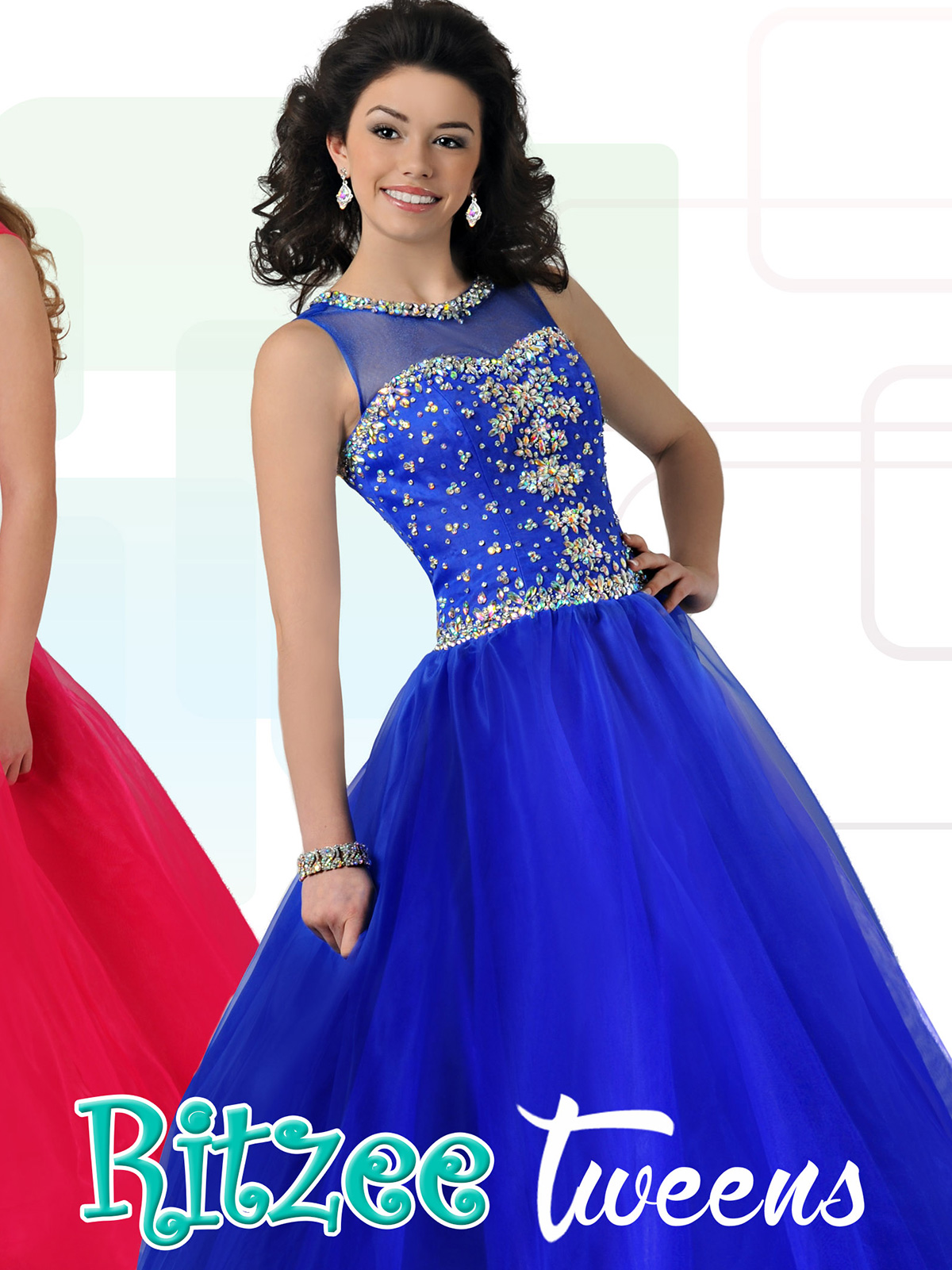 Ritzee Tween Beaded Pageant Ball gown T704|PageantDesigns.com