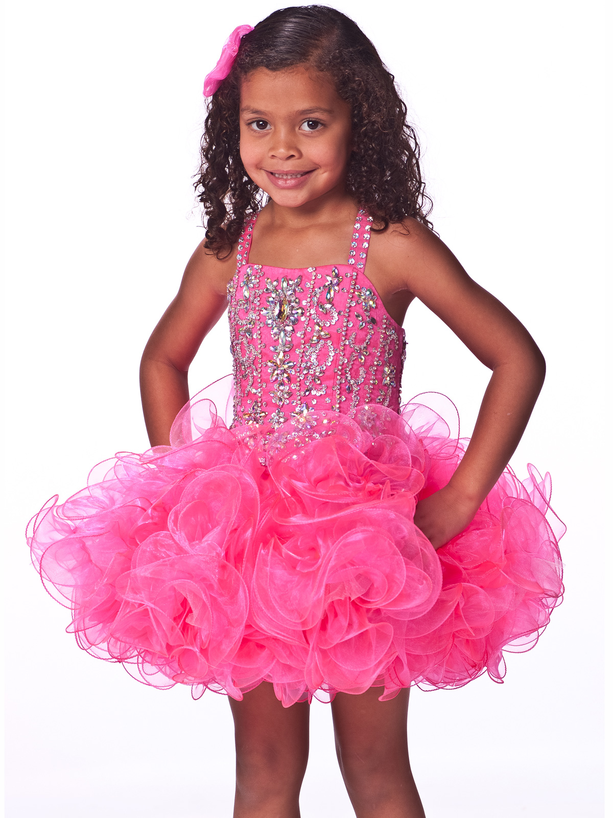 Jeweled Shoulder Straps Girls Short Pageant Dress By Unique ...