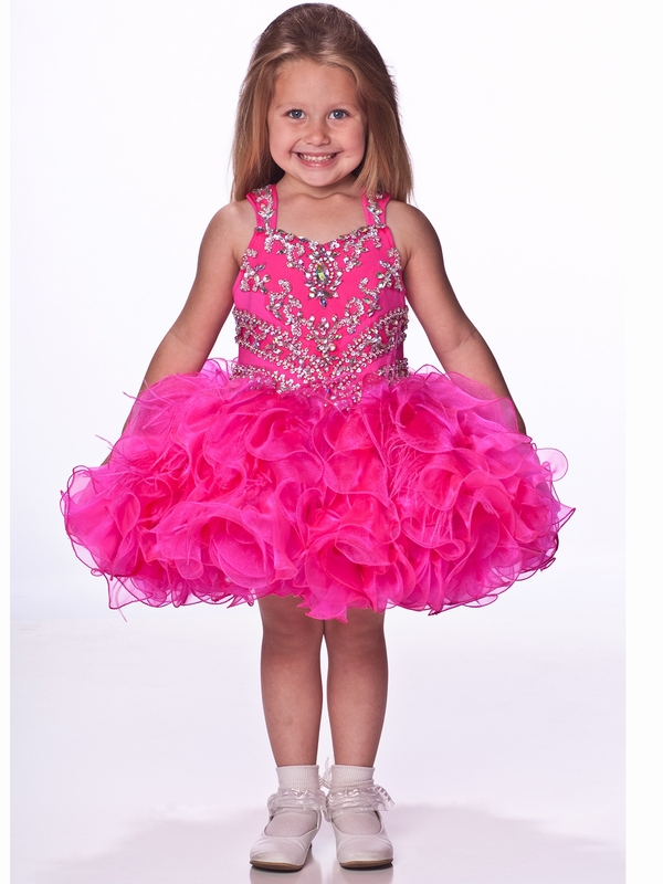 Ruffled Feathery Skirt Girls Short Pageant Dress By Unique Fashion ...