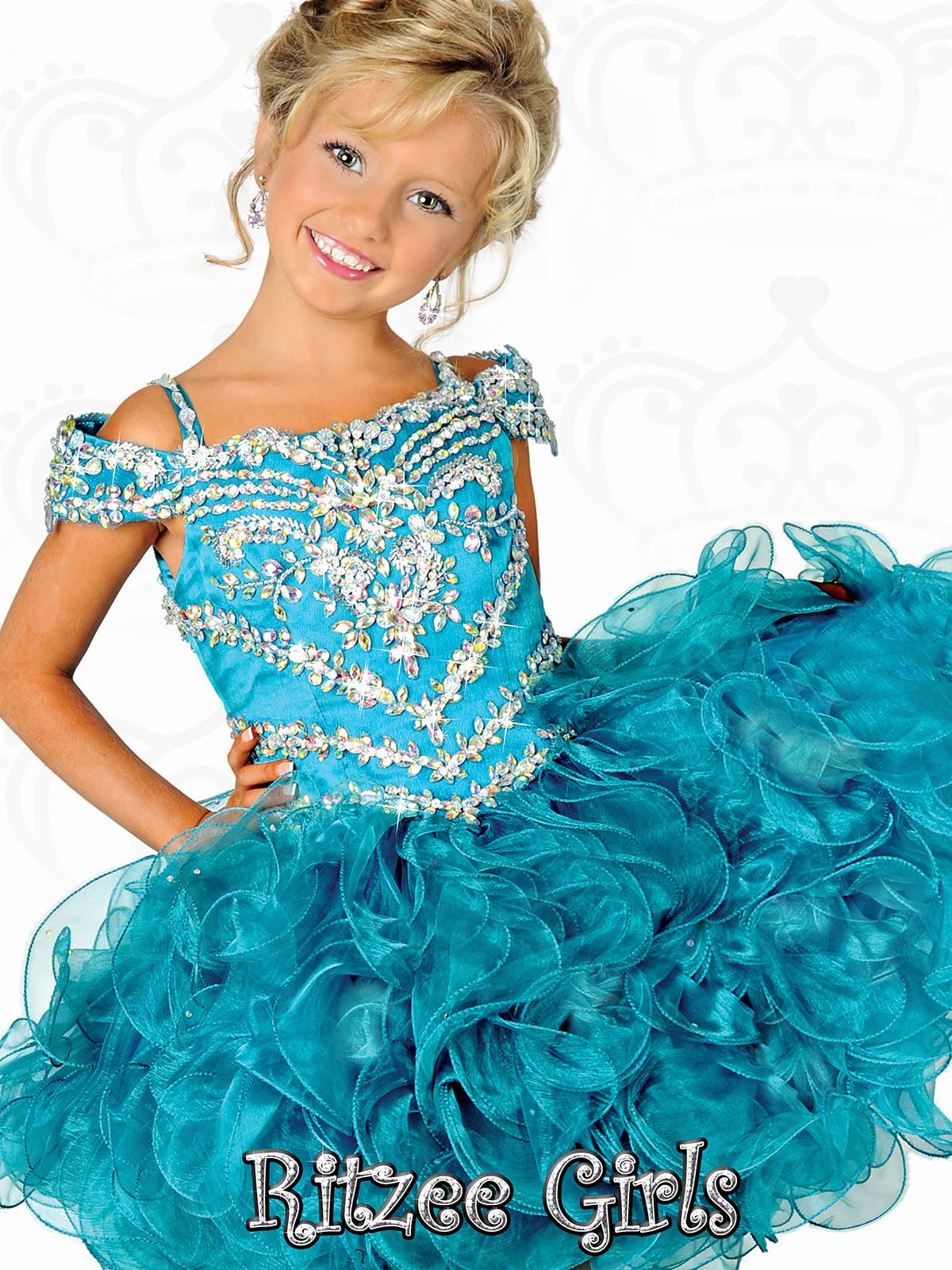 Off The Shoulder Bodice Ritzee Girls Cupcake Pageant Gown B523 ...