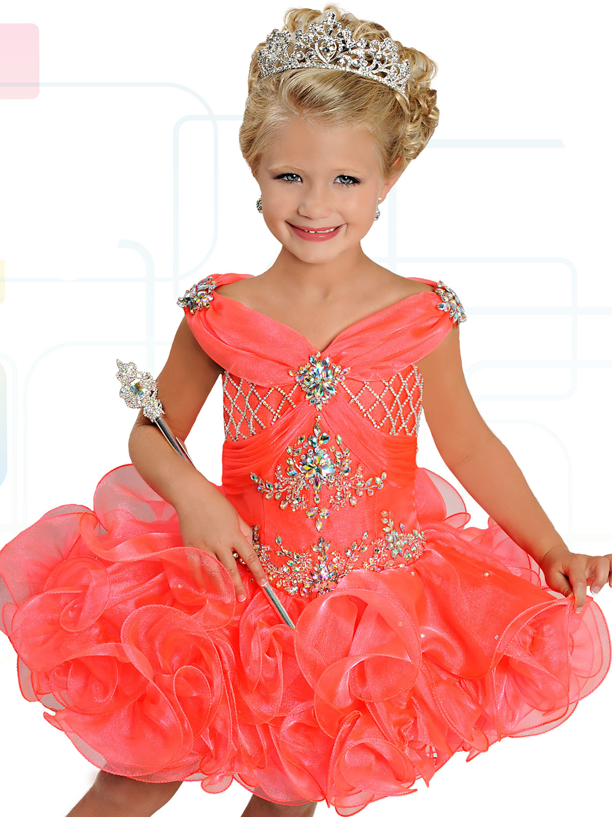 Ritzee Girls B738 Ruffled Skirt Cupcake Pageant Dress ...