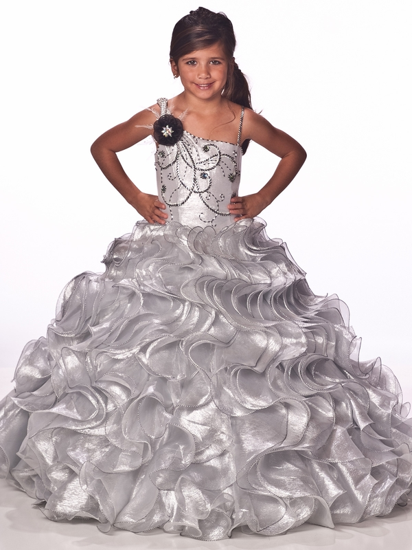Shimmering Silver Unique Fashions One Shoulder Girls Pageant Dress ...