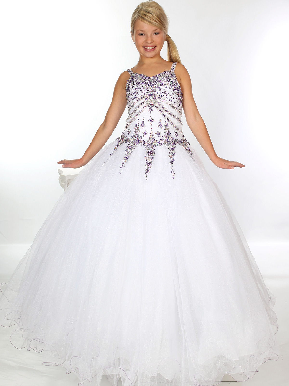 Stoned bodice girls unique fashion pageant ball gown uf1116f