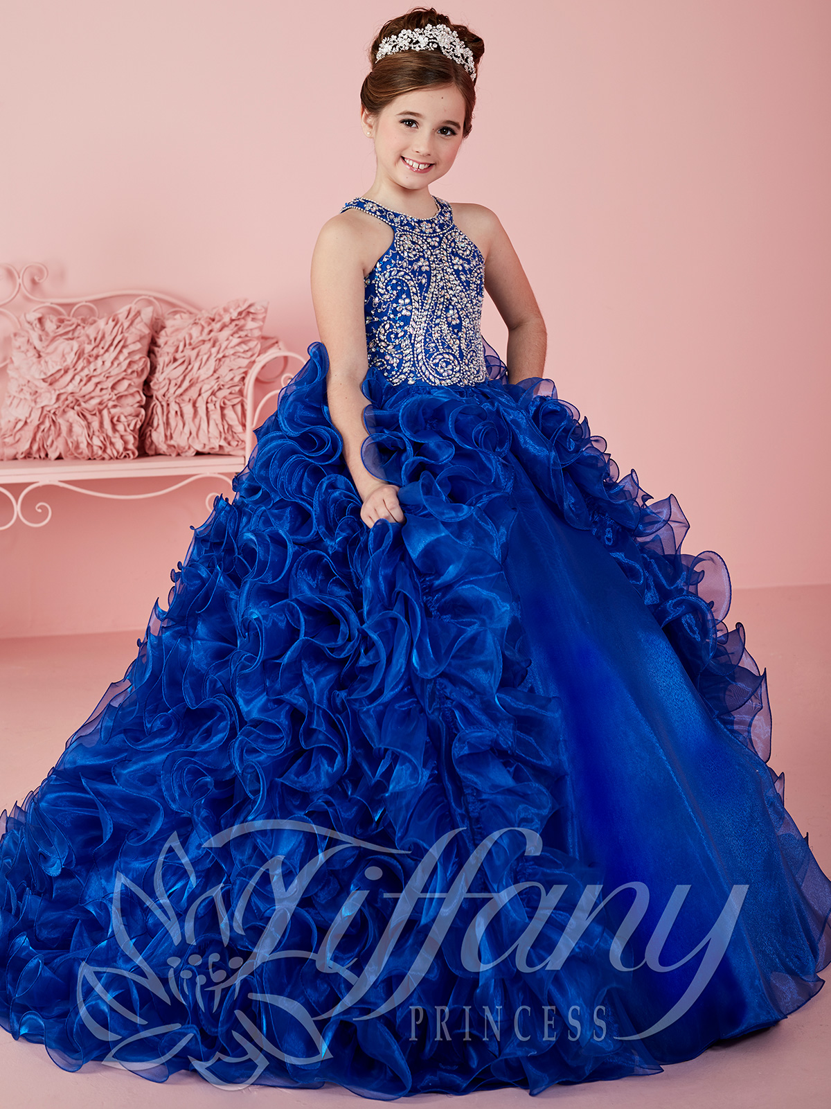 Tiffany Princess 13463 Halter Beaded Ball Gown Pageant ...