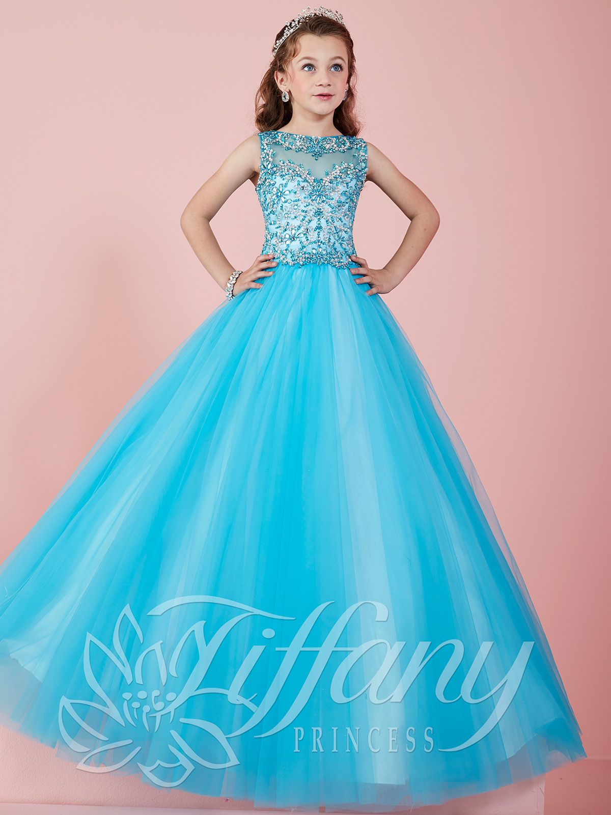 Tiffany Princess 13465 Illusion Neckline Ball Gown Pageant ...