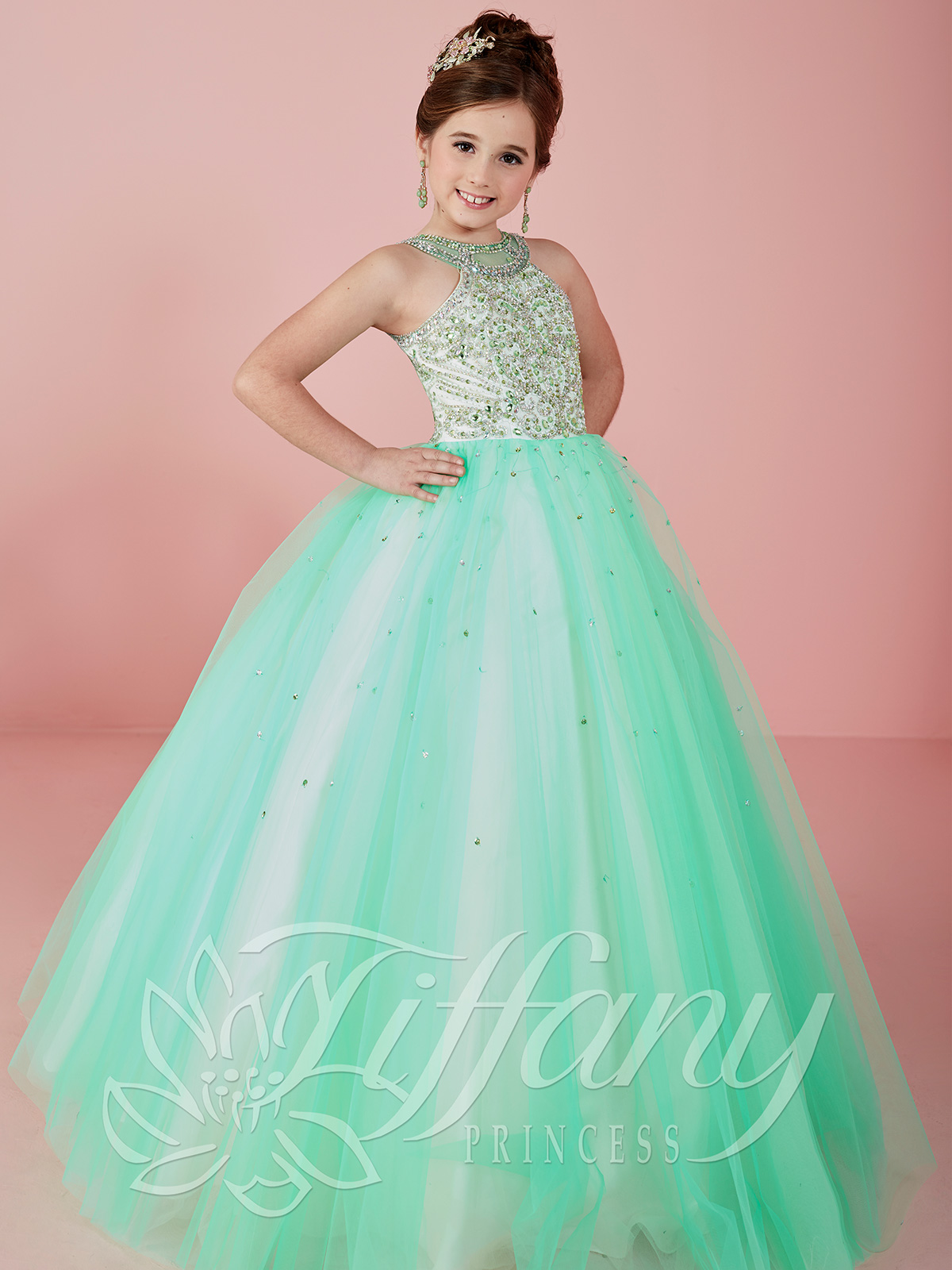 Tiffany Princess 13470 Halter Beaded Ball Gown Pageant ...