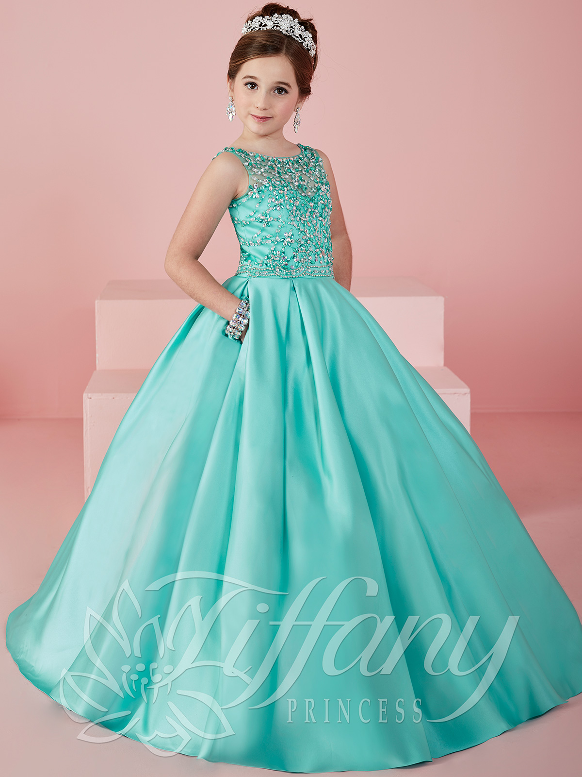 Tiffany Princess 13472 Illusion Scoop Neckline Ball Gown ...