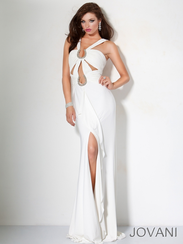 Jovanni sexy white prom dress
