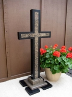 44 inch Oversize Standing Cross- Outlined Granite, Black ,Taupe