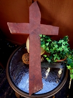 "Cherry Sandstone Stone Wall Cross ""Big Red"""
