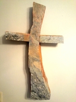 Curved Silver and Gold Schist Stone Wall Cross