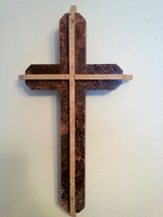 Dimensional Wall Cross - Red Granite With Travertine - Angled Edges