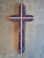 Dimensional Wall Cross - Reds Granite With Travertine - Angled Edges