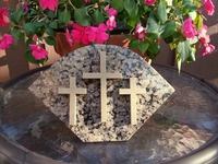 Granite Three Cross Sculpture