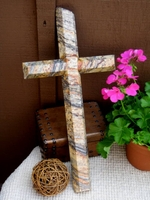 Granite Wall Cross - Gray, White and Rust, Angled Cut