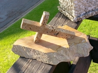 Leaning Travertine Cross on Limestone Base
