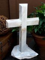 Marble Standing Cross- White, Tan, Gray Angled, Broken Base I