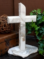 Marble Standing Cross- White, Tan, Gray Angled, Broken Base II