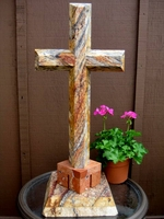 Oversize Standing Granite Cross -  Gray,White, Rust Terracotta  Base