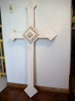 Oversize Wall Cross- Ivory Granite, Tan Accents - 48 inches