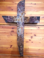 Plum Creek Stone Wall Cross - Eggplant with Red, Tan, Gray