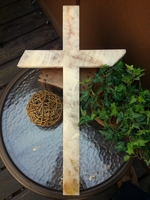 Quartz Wall Cross- Milky, Clear and Golden
