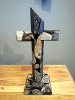 Standing Cross for Tabletop- Jurassic Black Granite