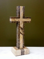 Standing Cross for Tabletop- Outlined Juparana, Inlaid Base