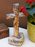 Standing Cross -  Golden Noir Granite,  Set in Stone