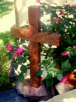 Standing Cross, Red Rainforest Granite on Lake Superior Stone