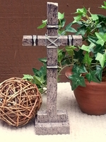 Standing Granite Cross for Tabletop - Mixed Grays, Wire Wrap
