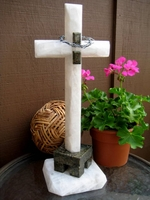 19 Inch Oversize Standing Onyx Cross - White, Green Granite