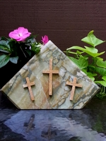 Standing Three Cross Marble Plaque - Green and Gold