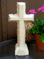 Standing Travertine Cross - Chipped Edges
