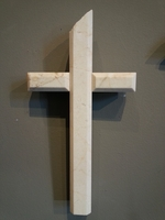Terrazo Marble Wall Cross Beveled Edges- Small Ivory