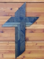 Wall Cross - Dark Green Slate Three Cross Design