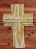 Wall Cross- Travertine Profile Cross - Mustard