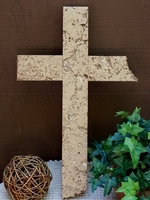 Wall Cross- Wide Unfilled Travertine, 2 Broken Edges