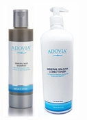 Adovia Dead Sea Mud Shampoo and Dead Sea Salt Conditioner Duo Set - 17 Oz Professional Size Conditioner (8oz Shampoo)