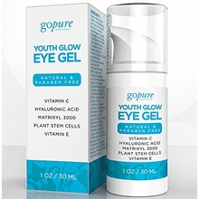 goPure Natural Eye Gel for Eye Puffiness, Dark Circles, Fine Lines & Wrinkles - Now 1oz (Double Size)