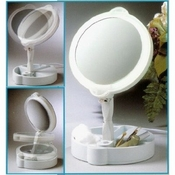 Floxite 9x/1x Home & Travel Folded Lighted Cosmetic Mirror