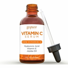 goPure Vitamin C Serum - Anti Wrinkle - 20% Professional Strength - With Hyaluronic Acid, Vitamin E, Organic Aloe