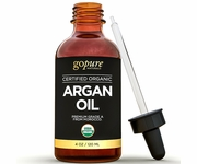 Organic Argan Oil 4oz for Skin & Hair - 100% Pure and USDA Certified Organic - from Morocco by goPure Naturals