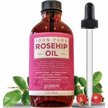 Organic Rosehip Oil - 4 oz - 100% Pure - Cold Pressed Rosehip Seed Oil by goPURE Naturals