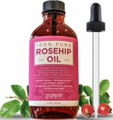 Organic Rosehip Oil - 4 oz - 100% Pure and USDA Certified Organic - Cold Pressed Rosehip Seed Oil by goPURE Naturals