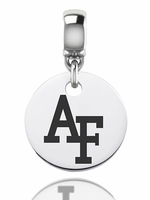 Air Force Falcon Silver Round Dangle Bead